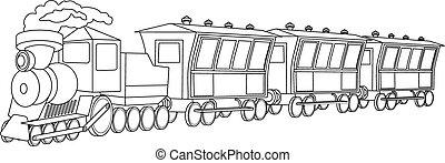 locomotive., weinlese, stil