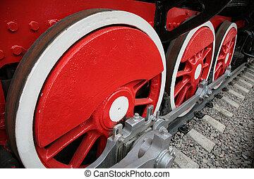 Locomotive wheels close up
