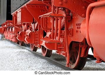 Locomotive wheels - Red wheels of a vintahe steam locomotive
