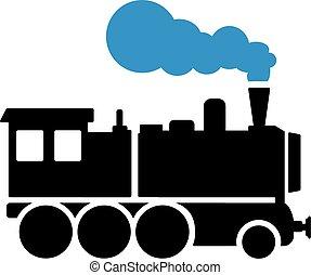 Locomotive with blue steam