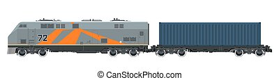 Locomotive with Cargo Container Isolated