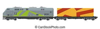 Locomotive with Orange Cargo Container Isolated