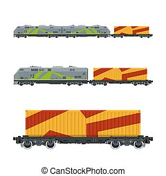 Locomotive with Orange Cargo Container
