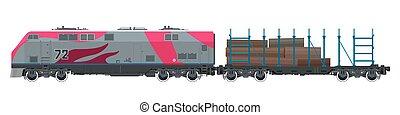 Locomotive with Platform for Timber Transportation