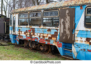 locomotives., ワゴン, 古い, railway., 錆ついた, ゲージ, 場所, narrow, 蒸気, stationing