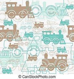 locomotives., seamless, 背景, 蒸気