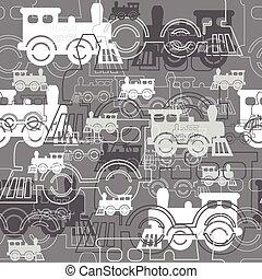 locomotives., seamless, hintergrund, dampf