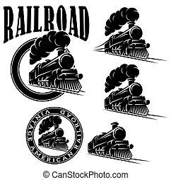 locomotora, vector, plantillas, vendimia, conjunto, tren