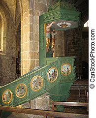 Locronan and church interior in Brittany