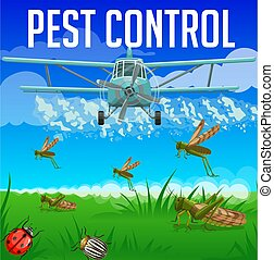 Locust, grasshopper, ladybug and colorado beetle pest control. Aerial insecticide and pesticide disinsection, vector. Agriculture insects extermination, pest control aircraft spraying insecticide