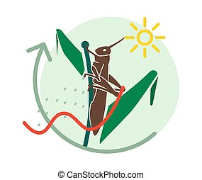 Locust Large Herbivorous Insects Attack on Crops - Icon as EPS 10 File
