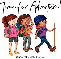 locution, temps, pour, aventure, à, groupe, de, randonneurs