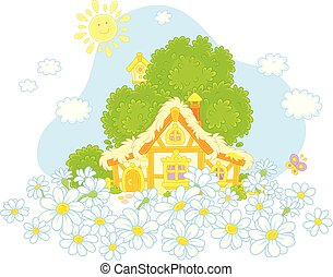 Lodge and white daisies - Vector illustration of a small...