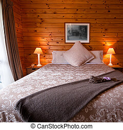 Lodge bedroom interior detail - Detail of mountain wooden ...