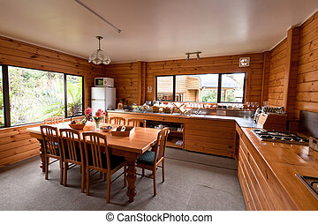 Lodge breakfast room interior. Fox Glacier Lodge, Fox...