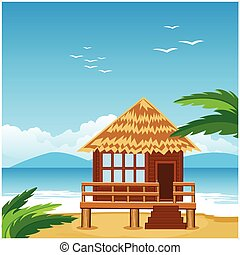 Lodge on beach - Vector illustration of the lodge on beach...