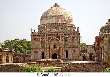 lodi, 古代, gumbad, デリー, インド, ドーム, bara, 新しい, 墓, 庭