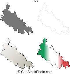 Lodi blank detailed outline map set - Lodi province blank...