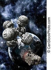 lodní náklad, nádraží, kosmická loď, proložit