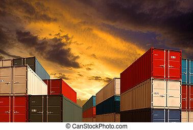 lodní náklad, nebo, nalodění, narovnuje na hromadu, vývoz, večer, import, přístav, přepravní skříň