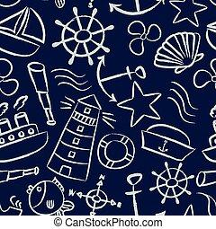 lodní, skica, klikyháky, vektor, ikona, seamless, konzervativní, model, eps10