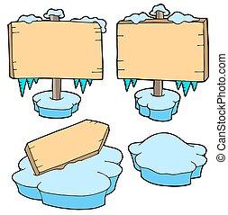 lodowaty, drewniany, znaki