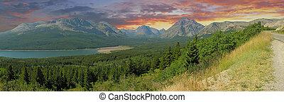 lodowiec, panoramiczny, narodowy park, prospekt