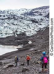 lodowiec, pieszy, grupa, wycieczkowicze, przewodnik