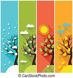 lodräta banér, med, vinter, fjäder, sommar, höst, träd.