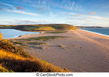 Loe Bar and Loe Pool the largest natural body of fresh water in Cornwall near Porthleven England UK Europe