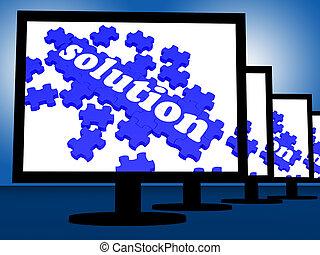 loesung, auf, monitoren, shows, lösende probleme, und, erreichen, ergebnisse