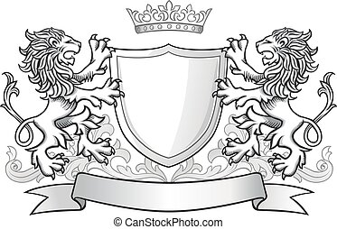 loewen, krone, schutzschirm, besitz, zwei