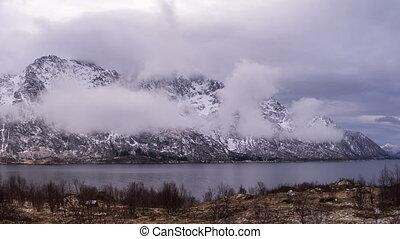 lofoten, chmury, brzeg