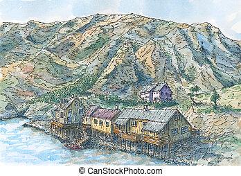 lofoten, fjord, norvège, îles, village