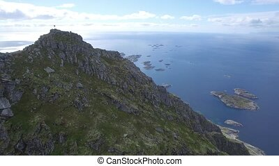 Lofoten Henningsv?r islands aerial - Drone aerial shot from ...