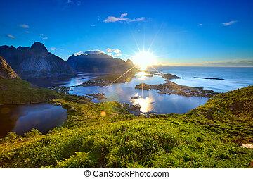 Sunrise over Reine fishing village in Lofoten Islands, Norway