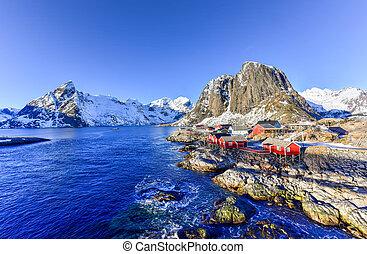 lofoten, -, noorwegen, hamnoy, eiland