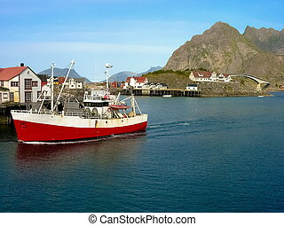 lofoten, norvegese, barca, isola