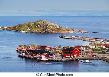 lofoten, reine, norvège, maison, village