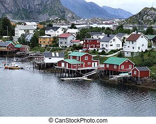 lofoten, townscape, dans, norvège
