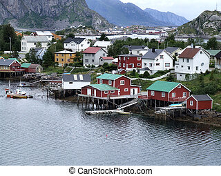 Lofoten townscape in Norway - Sorvagen (Moskenes) - small...