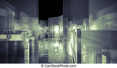 Loft, 3d business room, Hall  building with light and reflects.