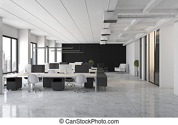 Loft and minimalistic style open space office with marble floor, black and white furniture and big windows