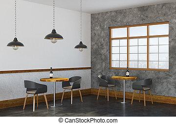 Loft cafe interior side - Side view of loft cafe interior...