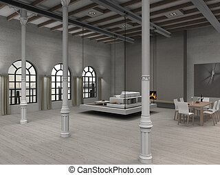 Loft - fictitious residential loft illustration with...