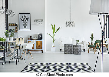 Loft interior in scandinavian style - White loft interior in...