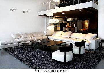 Interior shot of loft space in living room