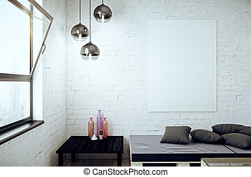 Loft interior with banner - Loft interior with city view,...