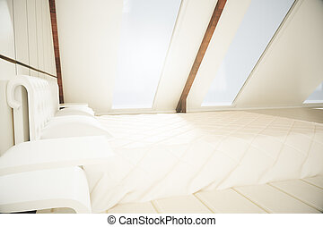 Loft interior with bed
