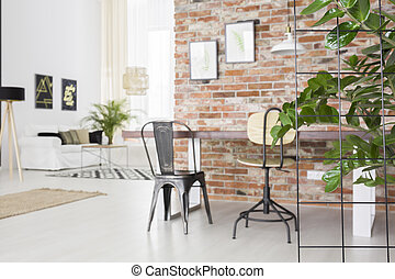 Loft interior with dining table